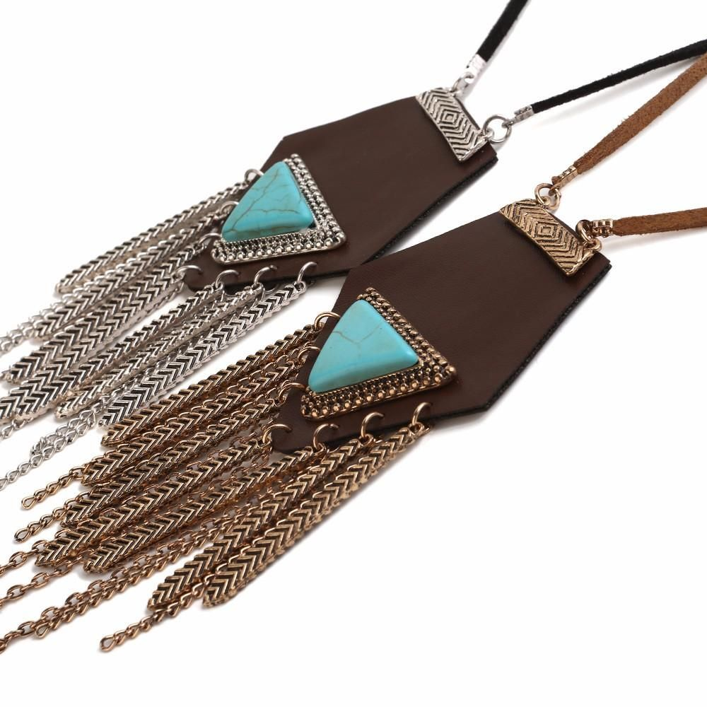 UGQ US$30.80 Tassel Leather Necklace Long Rope Turquoise Sweater Necklace