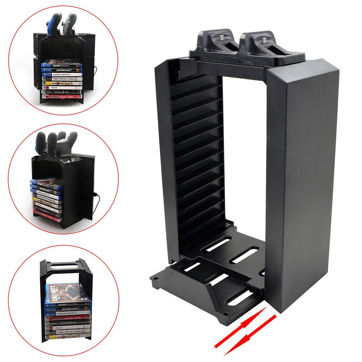 DPO US$33.93 Multifunctional Storage 2 Game Controller Charging Stand Dock Station for PS4