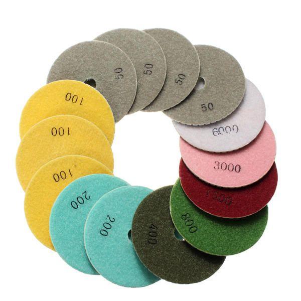 VNR US$26.78 15pcs 4 Inch Polishing Pads Set 50-6000 Grit Wet Dry Diamond Polishing Pads with Self-Adhesive Disc