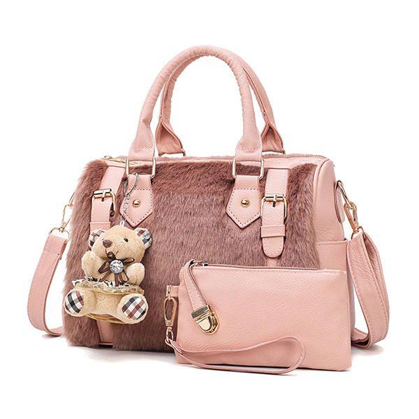 IAN US$60.32 Women Two-piece Set Faux Leather Plush Designer Handbag Shoulder Bag Clutch Bag