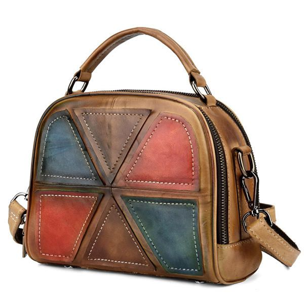 ZZE US$91.70 Women Vintage Genuine Leather Handmade Brush Color Handbags Stitching Crossbody Bags