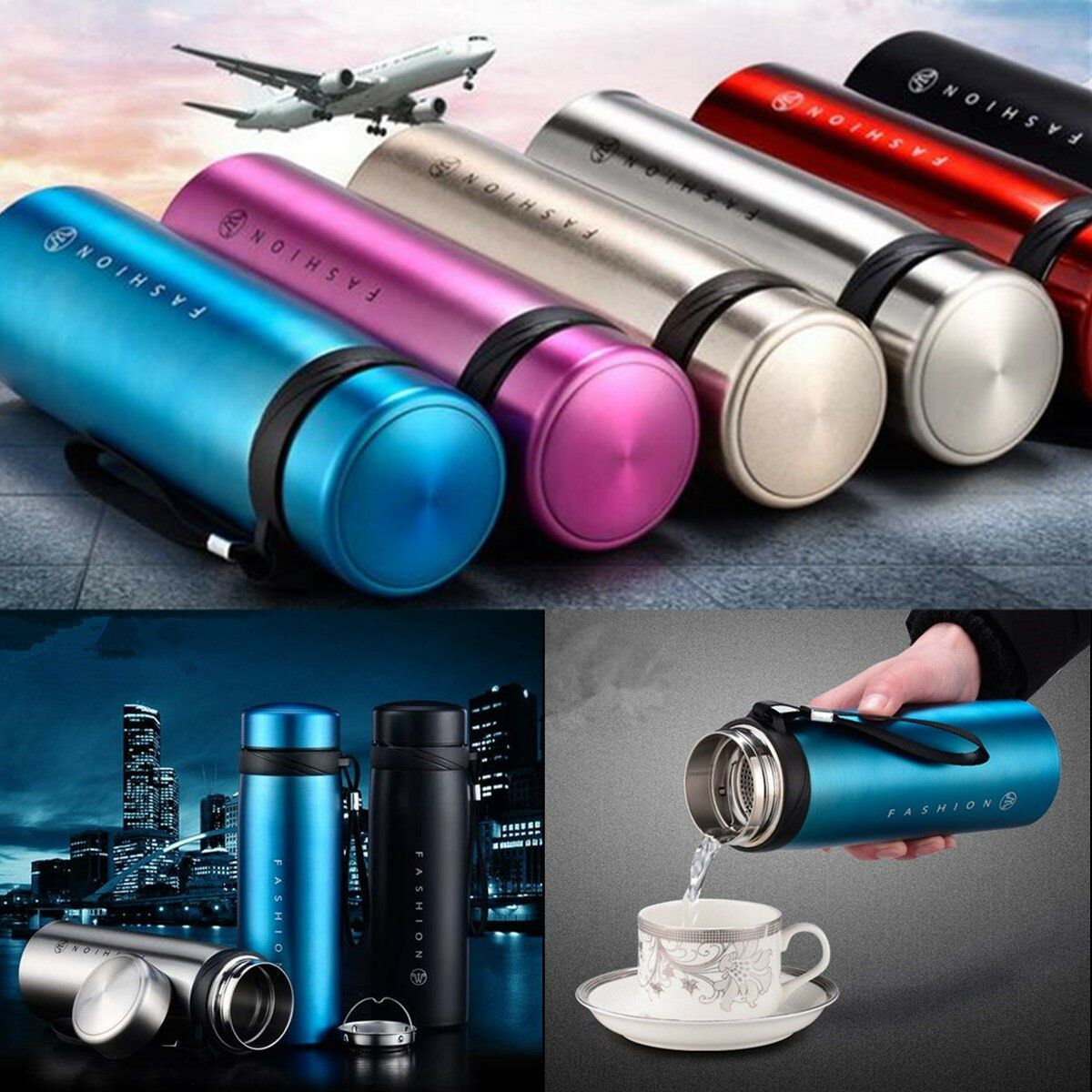 ROH US$26.05~28.05 650/900ml Stainless Steel Vacuum Flask Water Bottle Thermo Coffee Travel Mug Cup