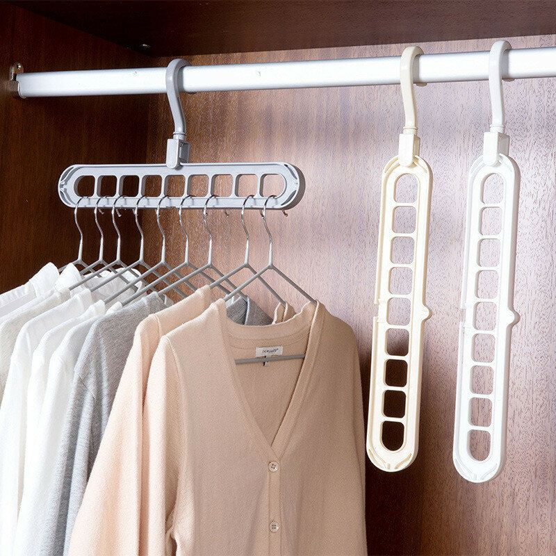 LZX US$6.22 Hanger Multi-port Support Circle Cloth Hanger Clothes Drying Racks Multifunction Plastic Scarf Clothes Hangers Storage Rack