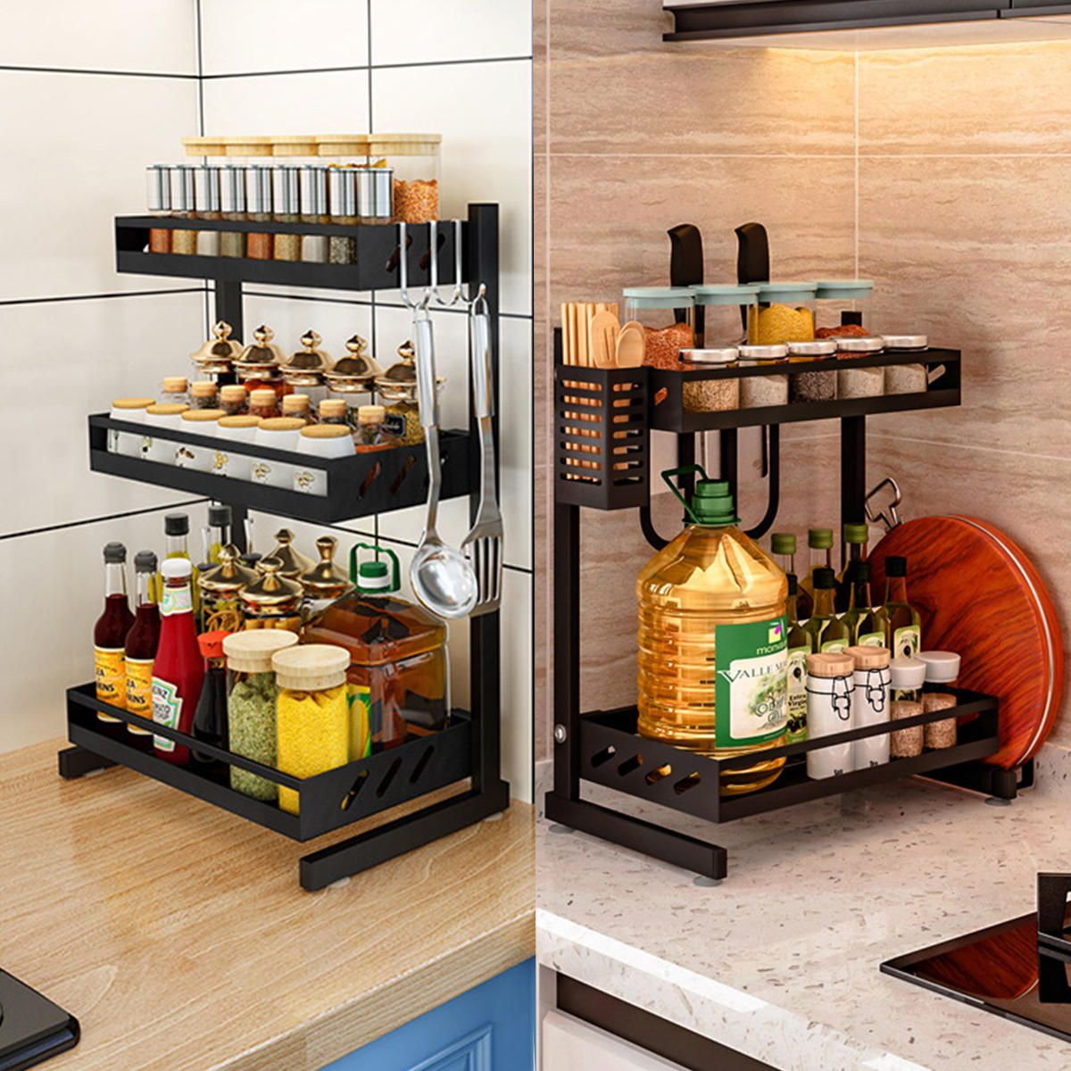 SYB US$60.58~71.58 Multi-functional Storage kitchen Rack Microwave Oven Shelving Unit Bathroom Storage Shelf Kitchen Storage Container