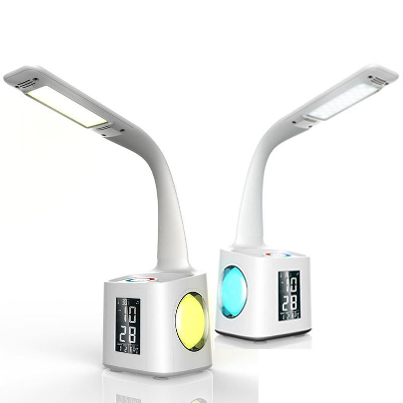 QOQ US$45.43 LED Dimmable Eye Protect Desk Lamp LED Foldable Reading Table Lamp Light RGB Touch Control Calendar Alarm Clock Temperature Lamp