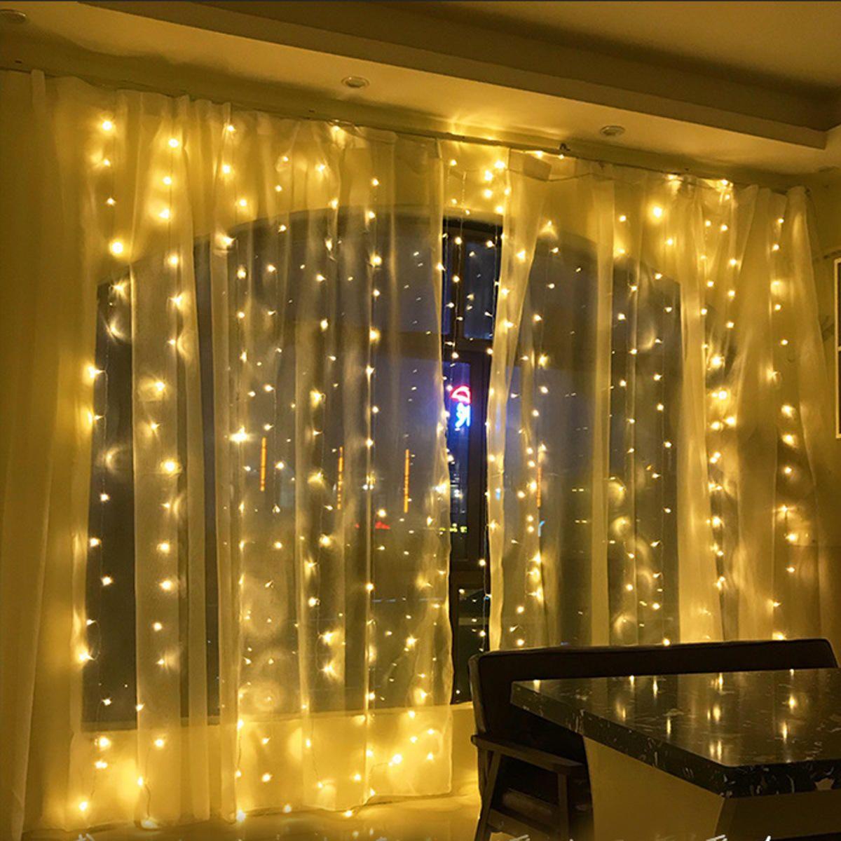 OJF US$27.96 6Mx3M AC220V EU Plug LED Curtain String Light Organza Backdrop for Weddings Birthday Party Events Display