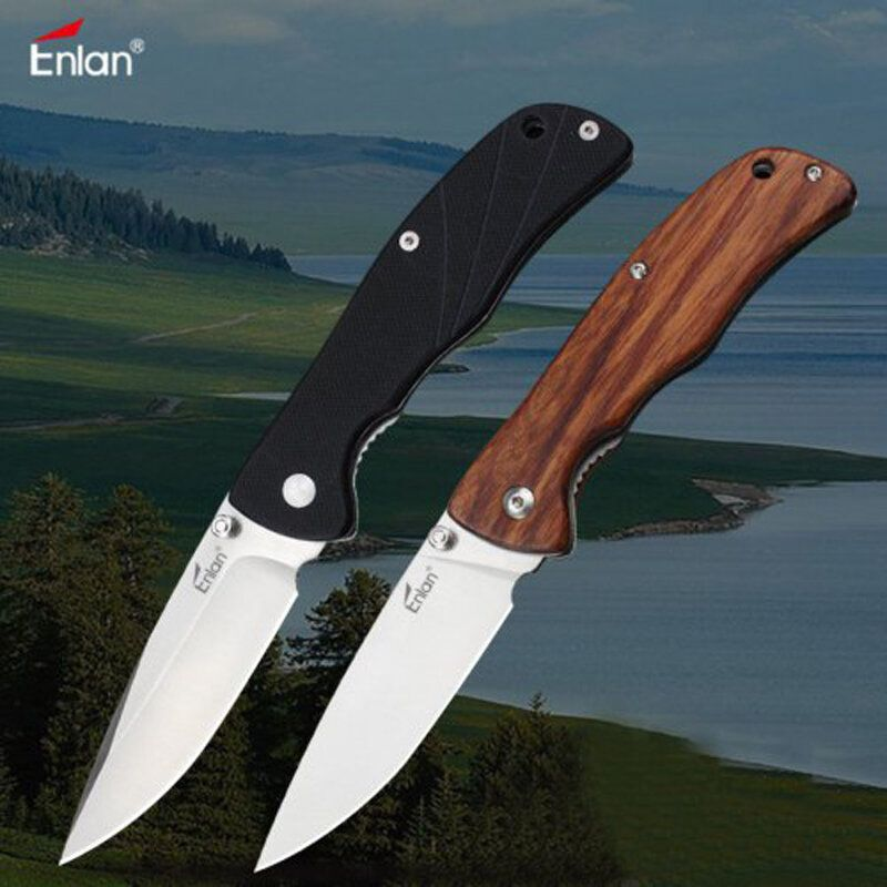 FYR US$14.58 Enlan L05 8CR13Mov Blade G10 or Wood Handle Folding Pocket Knife With Clip Liner-lock Stainless Steel Knife