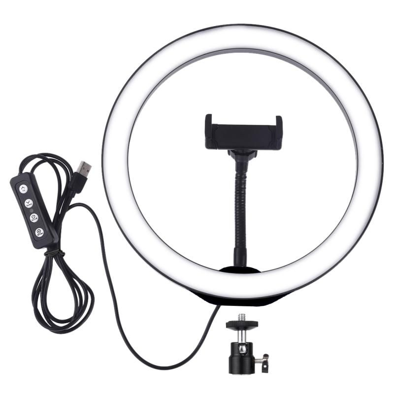 YFB US$34.31 PULUZ PKT3035 10 Inch USB Video Ring Light with 110cm Light Stand Dual Phone Clip for Tik Tok Youtube Live Streaming