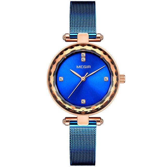 IEZ US$25.23 MEGIR 4211 Diamond Waterproof Casual Style Women Watch Milanese Steel Quartz Watches