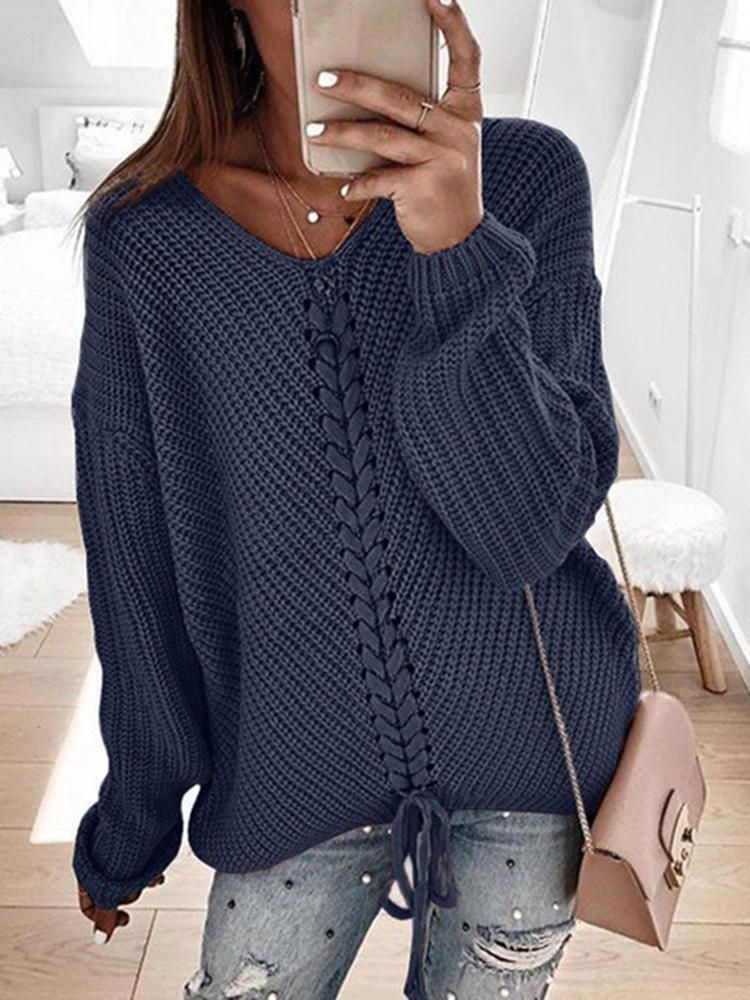 NTM US$29.27 Women Casual Pure Color V-Neck Long Sleeve Sweaters