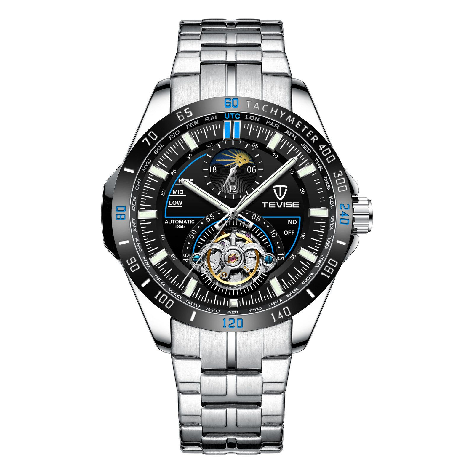 DLI US$33.31 TEVISE T855 Waterproof Full Steel Automatic Mechanical Watch Business Style Men Watch
