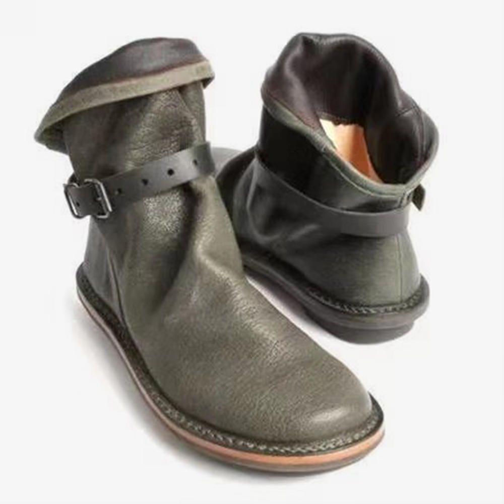 IMU US$39.57 Plus Size Women Retro Leather Buckle Belt Round Toe Flat Ankle Boots