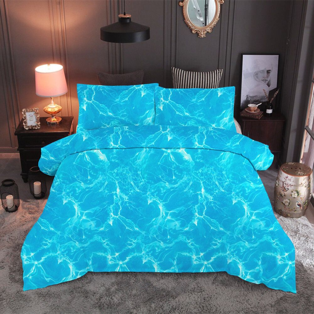 JSO US$38.81 3 PCS Bedding Sets Beach Landscape Printing Quilt Cover Pillowcase For Queen Size