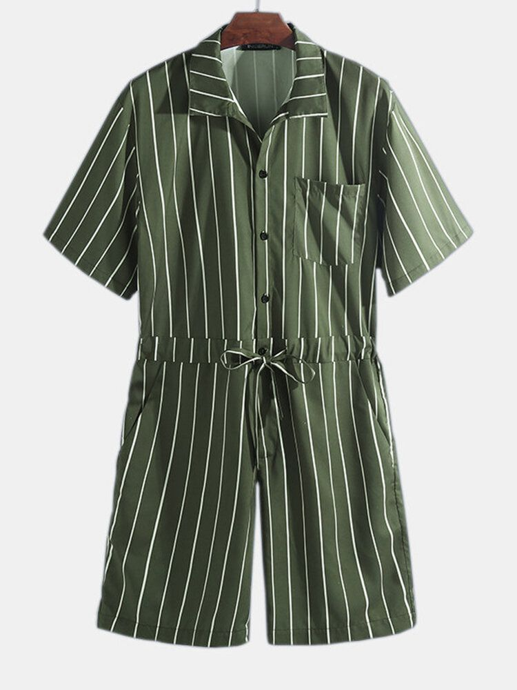 BQC US$23.99 Mens Vintage Striped Rompers Set Short Sleeve Onesie Fashion Jumpsuit