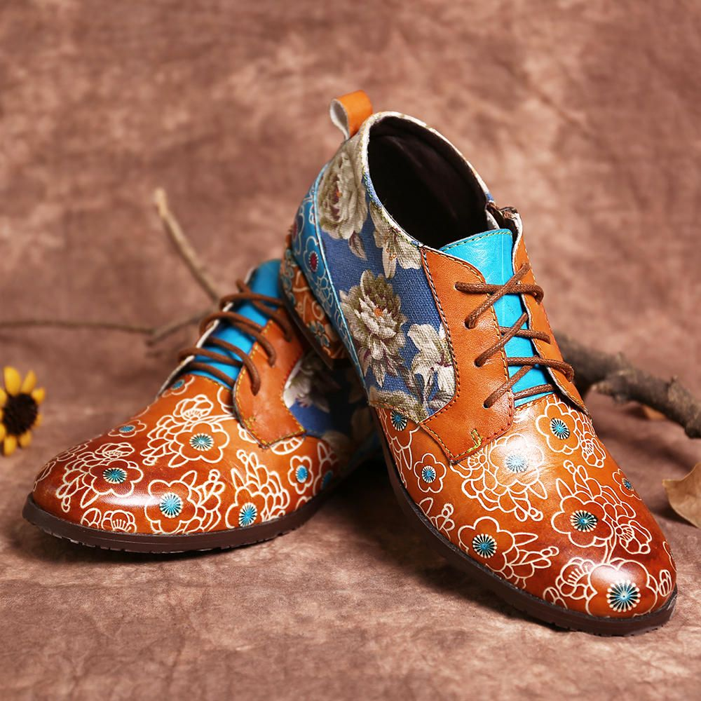 MWY US$57.84 Socofy Women Casual Retro Flowers Genuine Leather Lace Up Flats