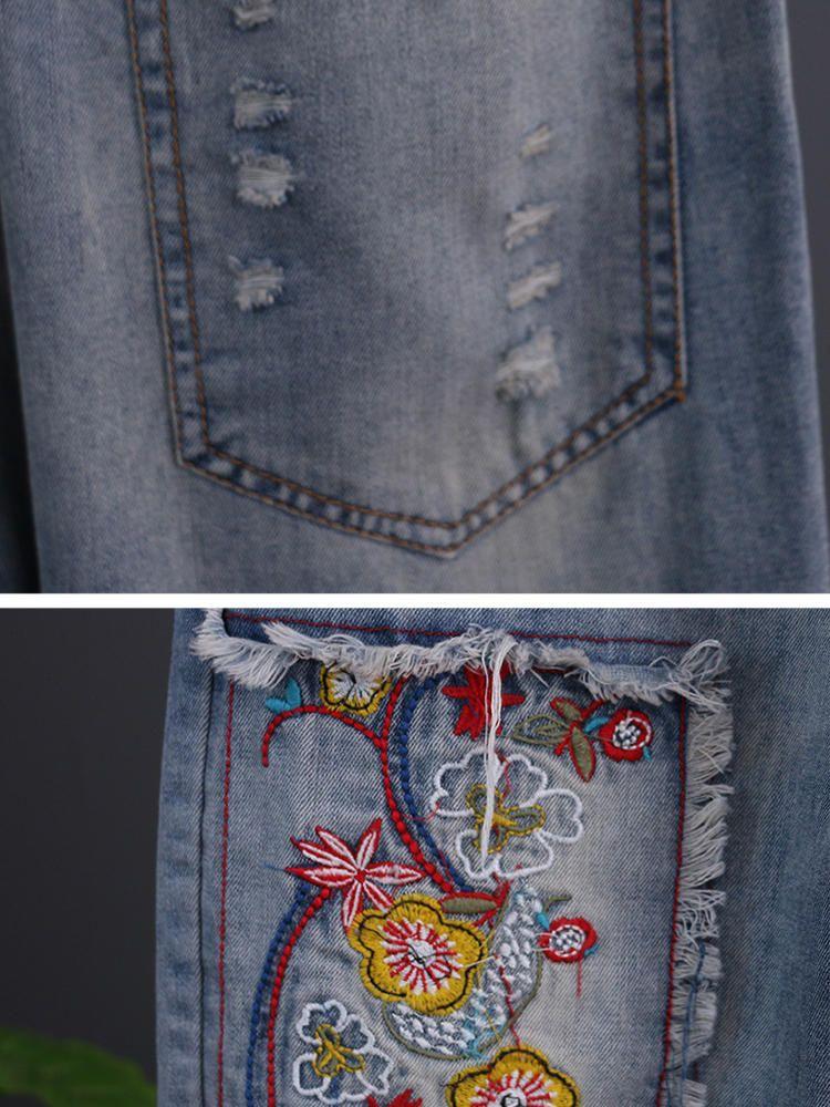 CKU US$33.31 Vintage Embroidered Patch Elastic Waist Denim Jeans