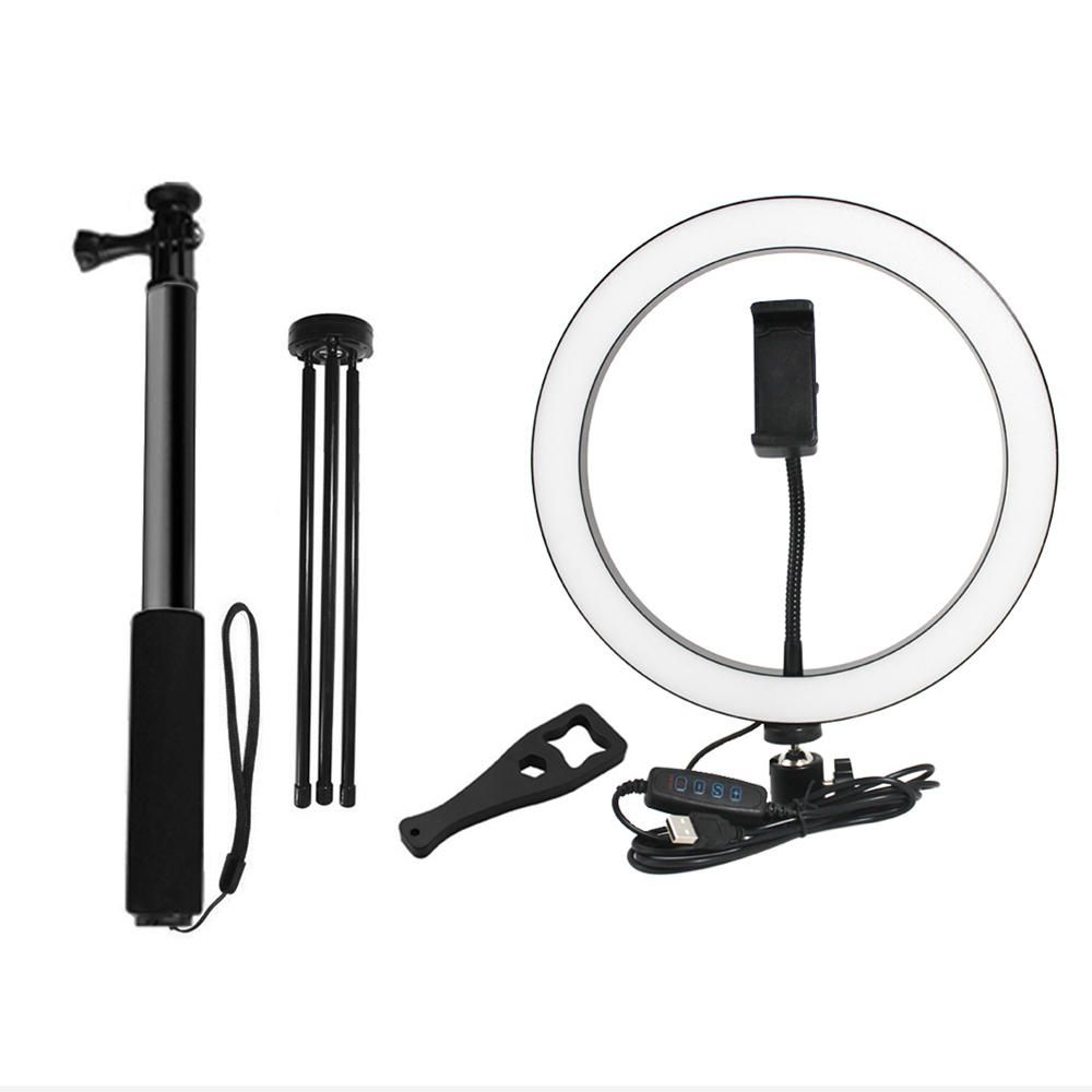 VNE US$36.34 Yingnuost Selfie Stick 5500K Dimmable Video Light 26cm LED Ring Lamp with Phone Holder bluetooth Shutter Wrench for Youtube Tik Tok Live Streaming