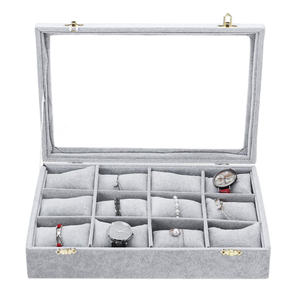 SHH US$31.19 12 Grids Jewelry Storage Box Watch Display Box Velvet Watch Storage Box 35cm*24cm*7cm