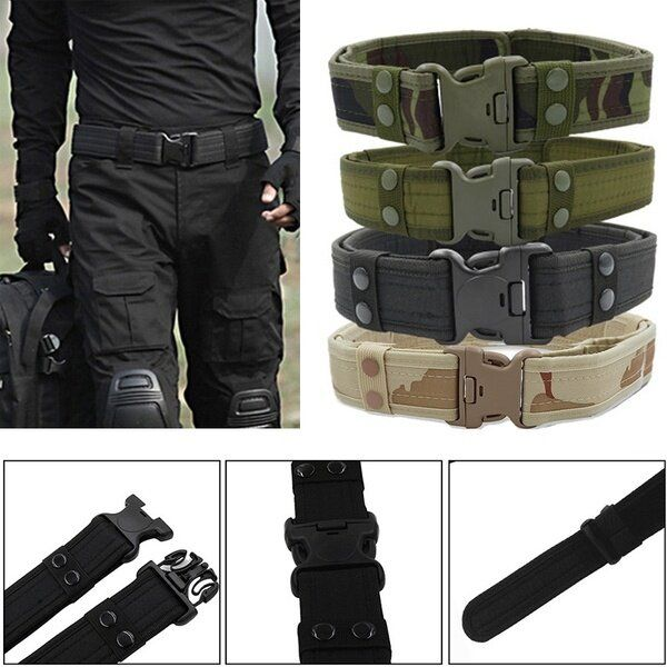 PYJ US$12.22 130CM Mens Military Durable Canvas Belt Army Outdoor Tactical Combat Belt