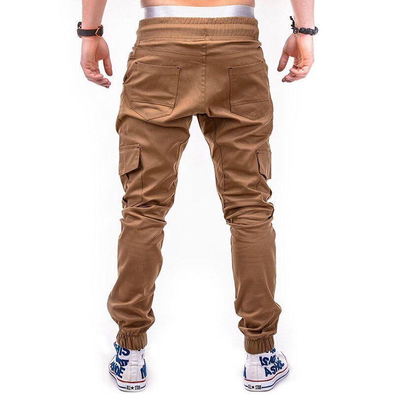 QJJ US$28.83 Mens Multi-pocket Cargo Pants Elastic Waist Drawstring Slim Fit Solid Color Casual Trousers
