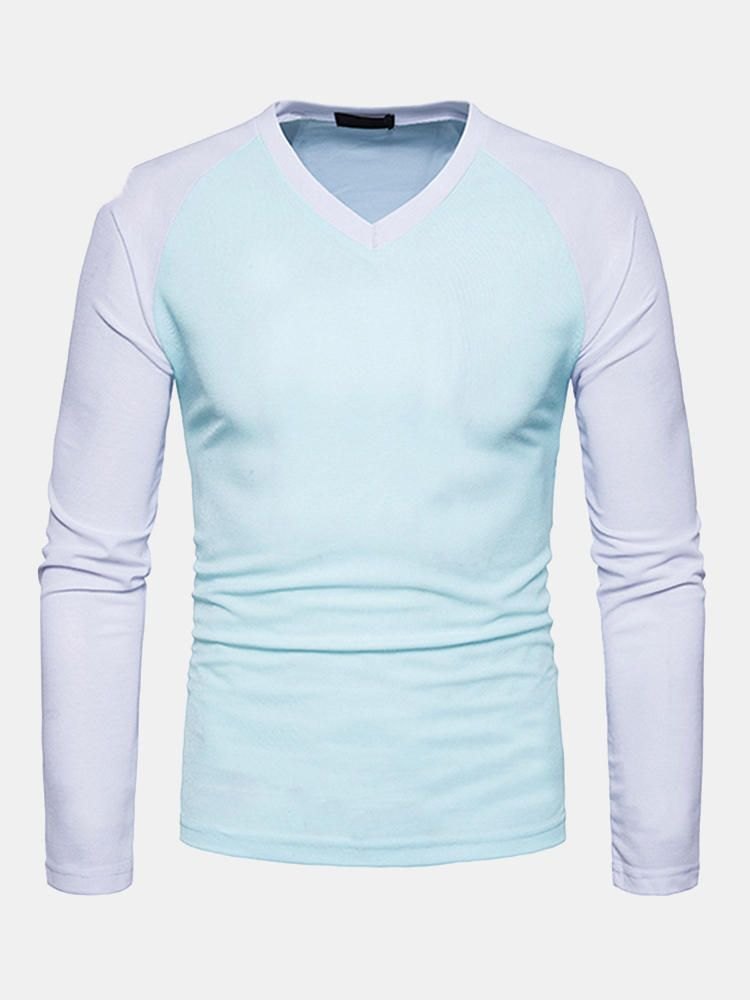 FHS US$26.99 Mens Fashion Patchwork Hit Color V-neck Long-sleeve Slim Fit Casual T-shirts