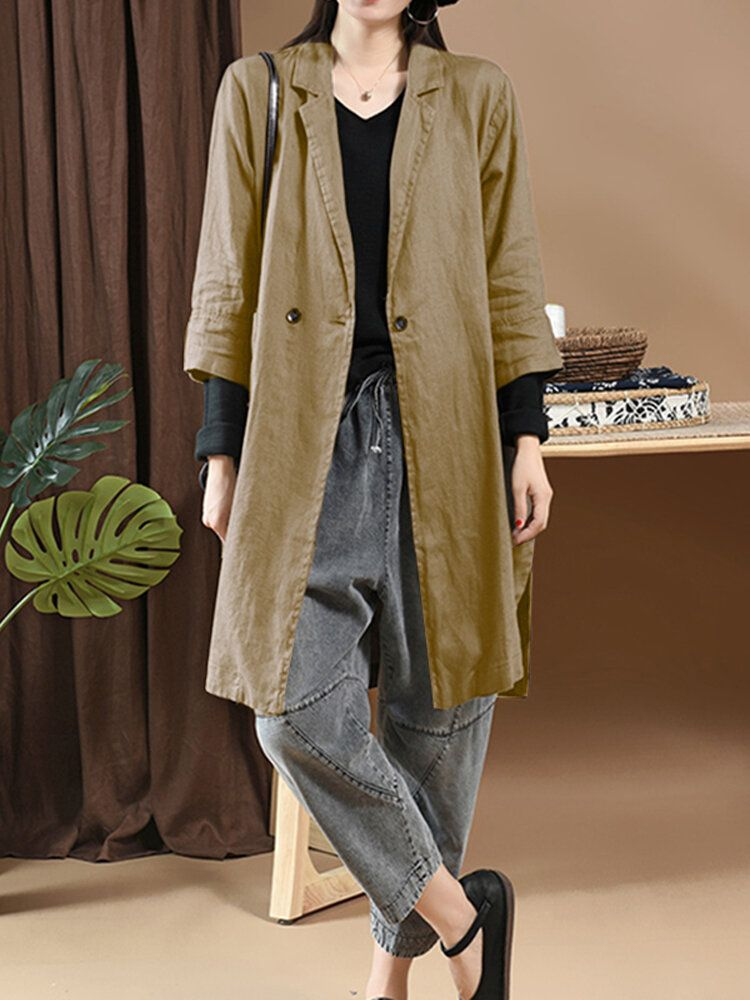 OBK US$22.99 Womens Casual Loose Long Sleeve Cotton Trench Coats Cardigans