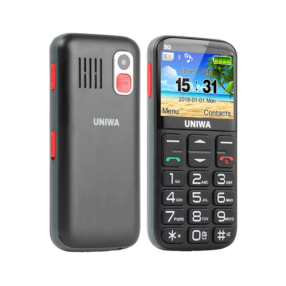 YKB US$46.44 UNIWA V808G 2.31 Inch 1400mAh 3G Charging Stand bluetooth Loudspeaker Torch One Key SOS Feature Phone
