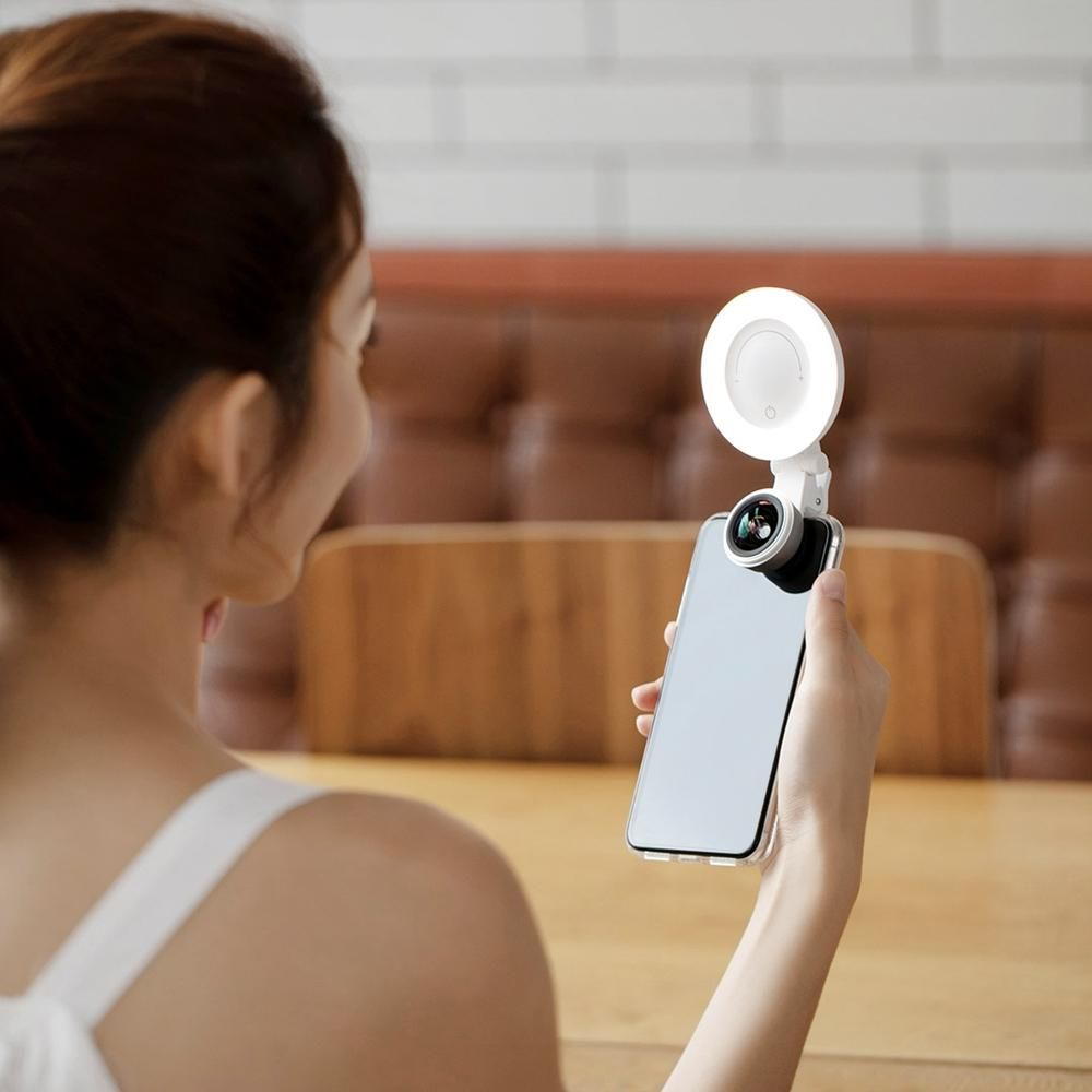 DBR US$30.28 Wicue Selfie Beauty Light with Wide Angle Lens Clip-on Rechargeable LED Ring Lamp for Smartphone from Xiaomi Youpin