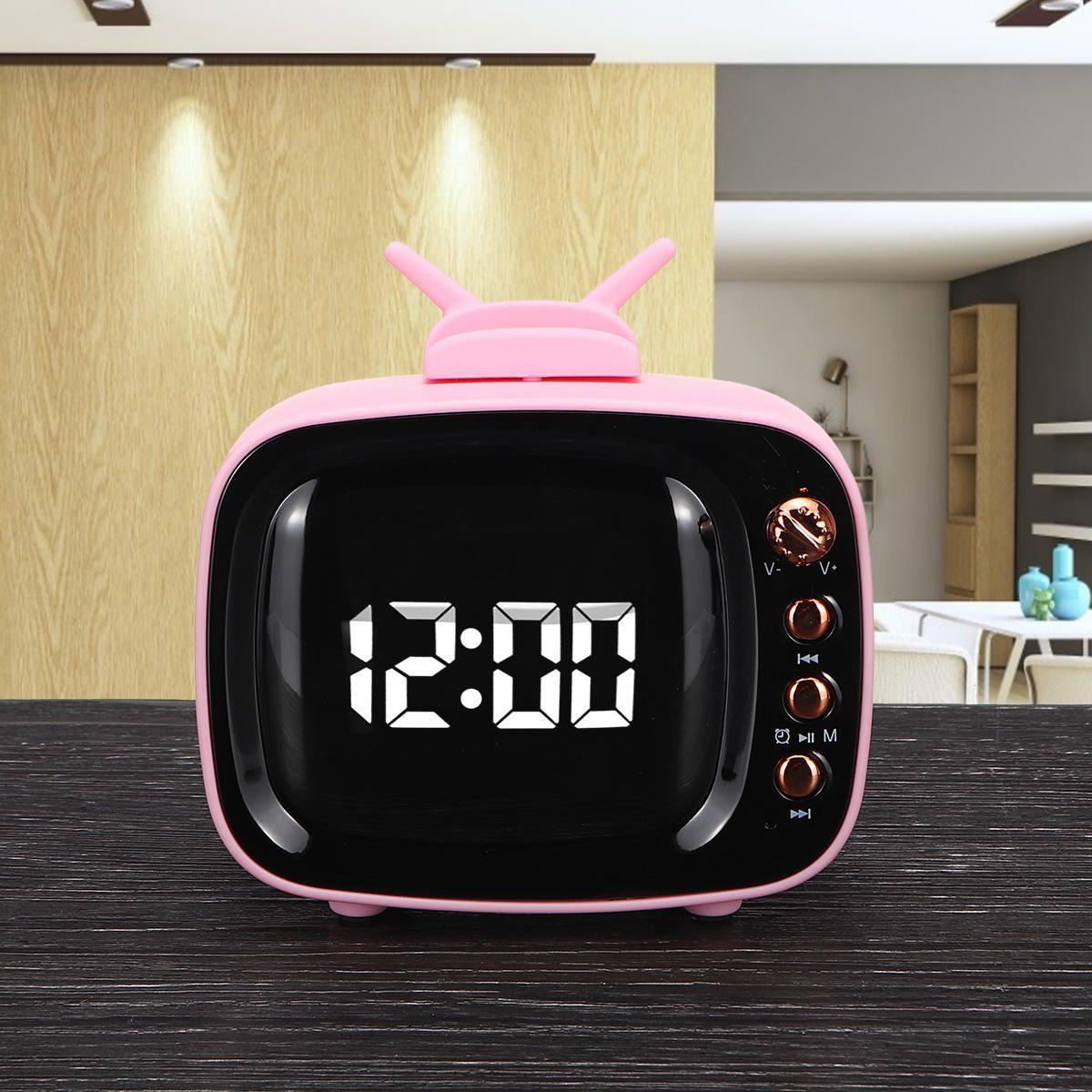 VLN US$14.99 Portable Retro Speaker TV Design Mobile Phone Holder Stand bluetooth Alarm Clock