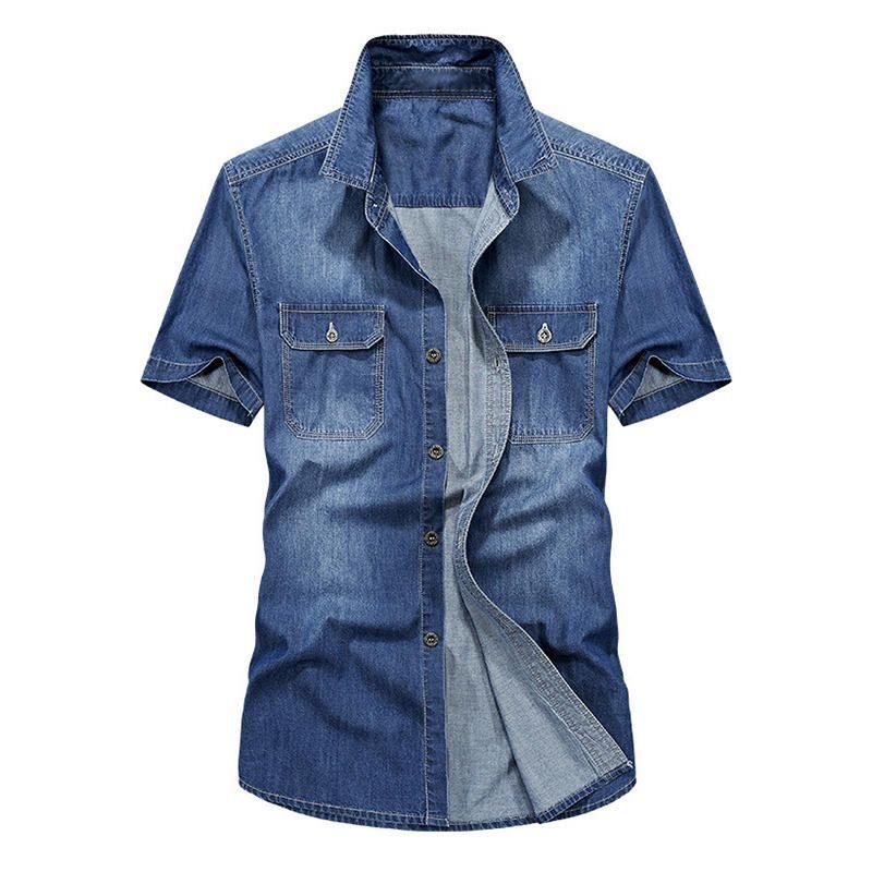 RZN US$52.99 Casual 100% Cotton Thin Short Sleeve Denim Shirts