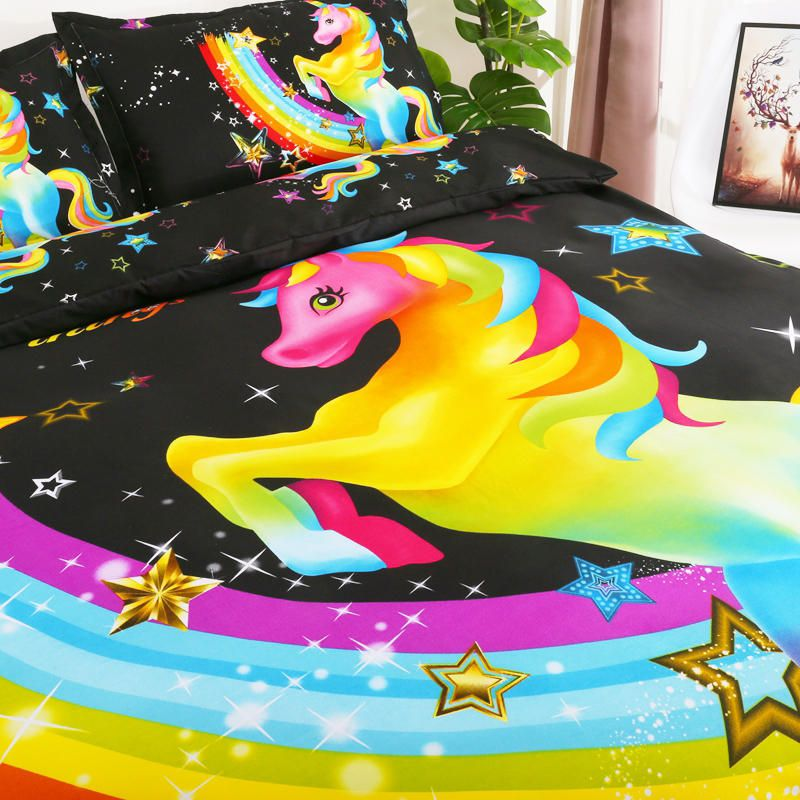 VAI US$39.03 3 PCS Bedding Sets 3D Animal Unicorn Printing Quilt Cover Pillowcase For Queen Size
