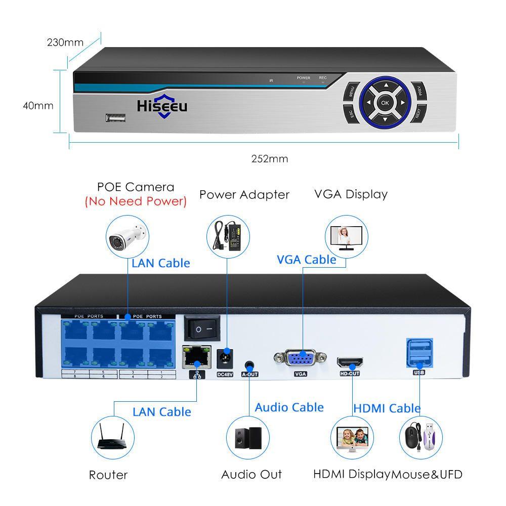 TFP US$100.98 Hiseeu 4K 8MP POE NVR 8CH Audio ONVIF H.265 Surveillance Security Video Recorder for POE IP 1080P 4MP 5MP 8MP Camera