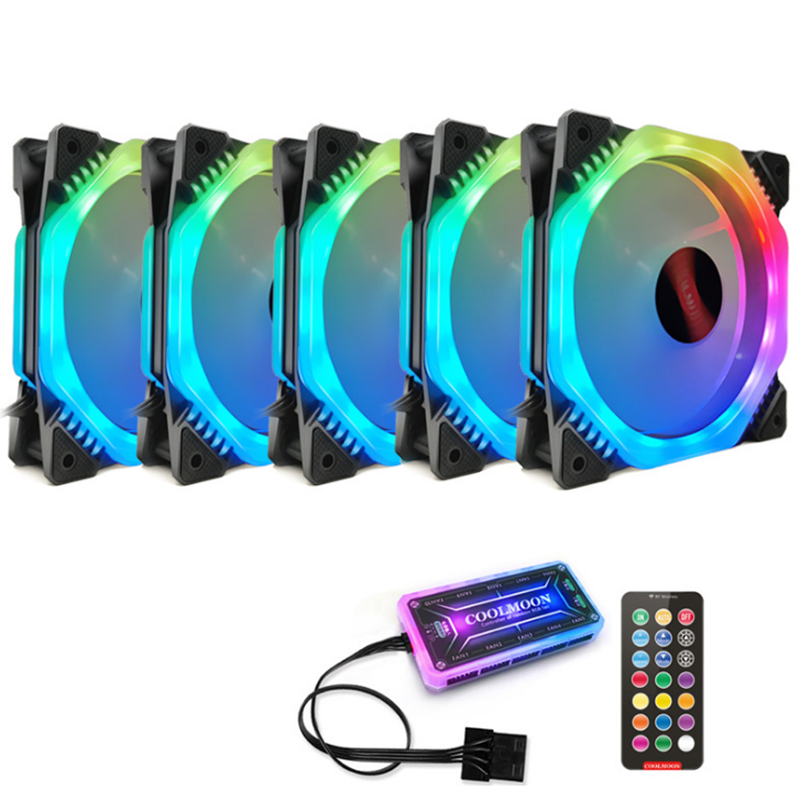 JPS US$35.33 Coolmoon 5PCS 120mm 12 Monochromatic Lights CPU Cooling Fan Multilayer Backlit RGB Cooling Fan with the Remote Control