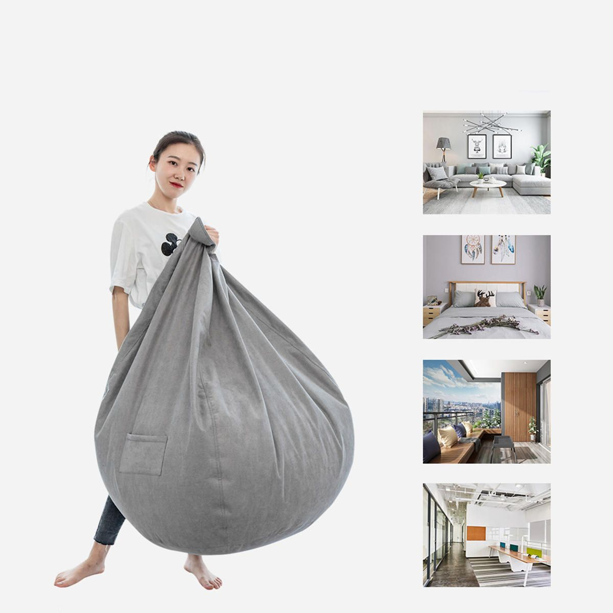 VYV US$26.24 NESLOTH 100*120cm Soft Bean Bag Chairs Couch Sofa Cover Indoor Lazy Sofa For Adults