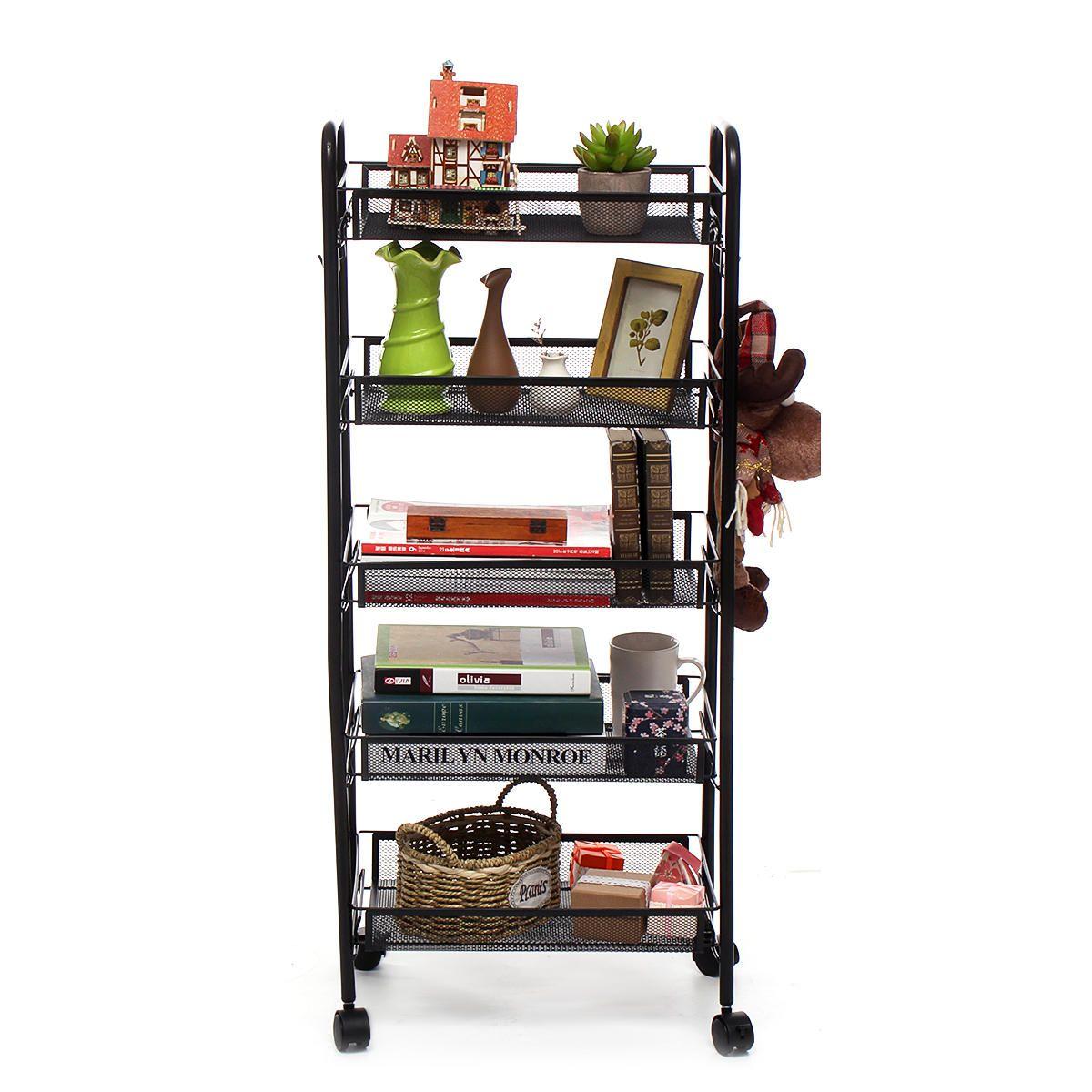 OGE US$57.11~60.11 4/5-Tier Basket Stand Kitchen Bathroom Trolley Full-Metal Rolling Food Storage Cart with Lockable Wheels 4 Side Hooks