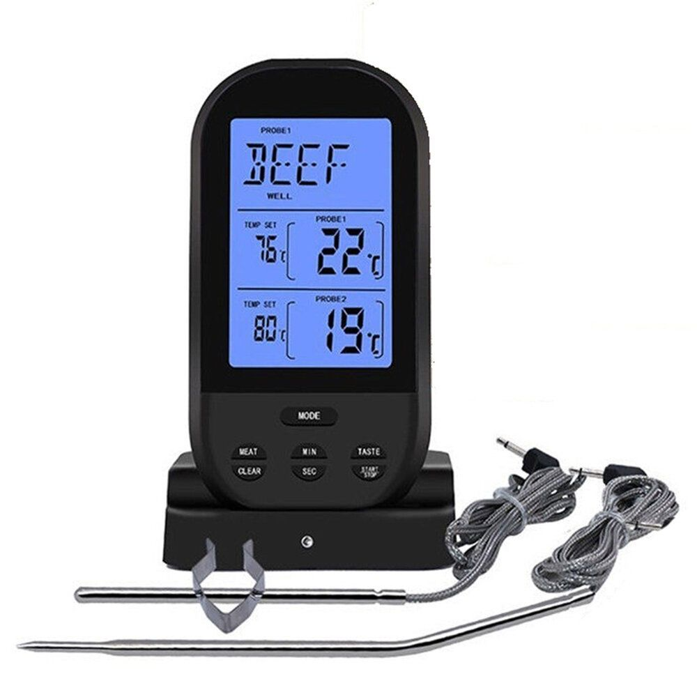 ONQ US$25.99 Bakeey Wireless Dual Temperature Needle Barbecue Kitchen Meat LCD Digital Thermometer For Smart Home
