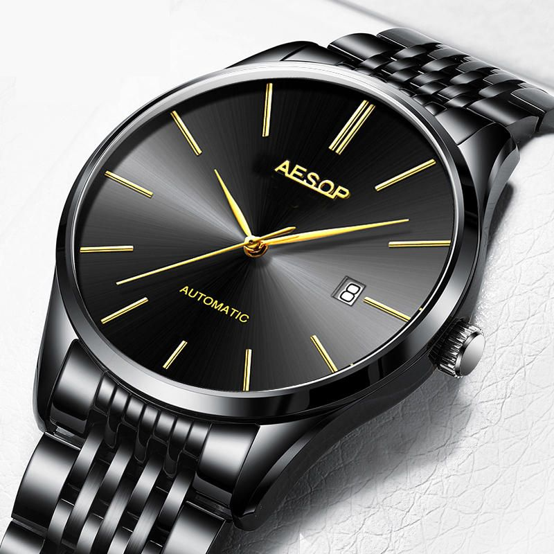 WOO US$45.43 Aesop 1016G Business Style Automatic Mechanical Watch Calendar Men Wrist Watch