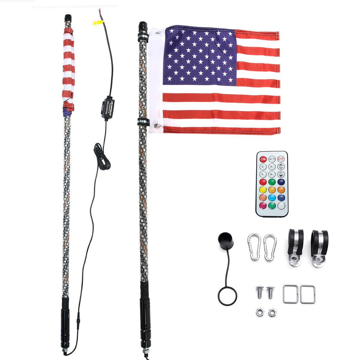 GDE US$96.99~111.99 12V 3FT/4FT/5FT LED 4WD Strip RGB Color Whip America USA Flag Light With Remote Control For Jeep ATV UTV RZR Motorcycle Accessories