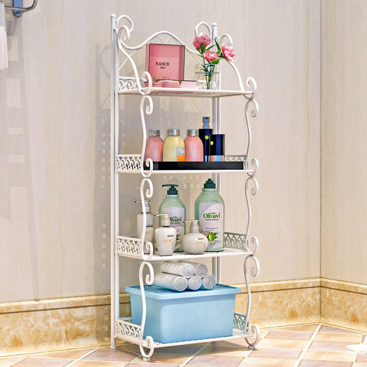 DMM US$47.45 4 Tiers Iron Folding Storage Shelf Nordic Minimalist Multifunctional Bookshelf Storage Racks Holders for Office Home Bedroom Bathroom Kitchen