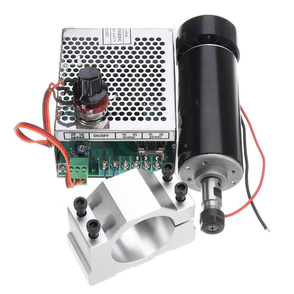 KQL US$56.99 Machifit ER11 Chuck CNC 500W Spindle Motor with 52mm Clamps and Power Supply Speed Governor