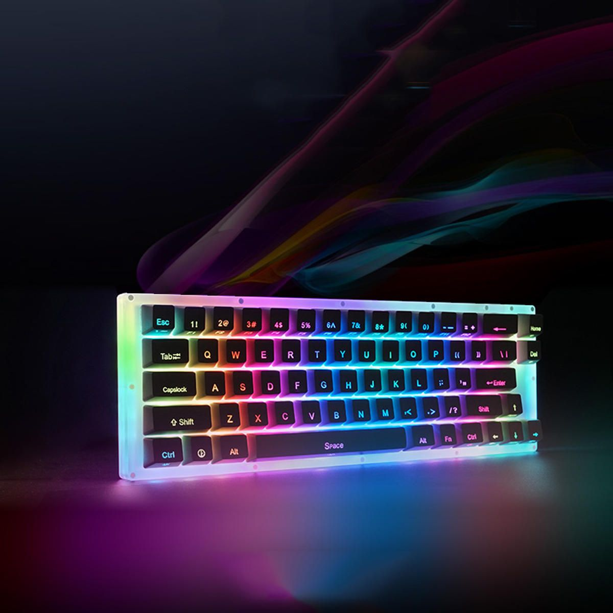 YVF US$59.73 Womier K66 66Key Tyce-C Wired  RGB Backlit Gateron Switch  Mechanical Gaming Keyboard with Crystalline Base for PC Laptop
