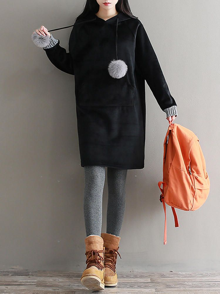 PMJ US$50.18 Mori Girl Long Sleeve Solid Color Velvet Drawstring Hooded Sweatshirt Dress