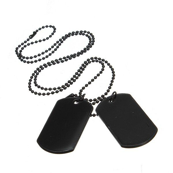 RFP US$8.47 2pcs Mens Army Style Black Dog Tag Pendant Necklace Long Chain