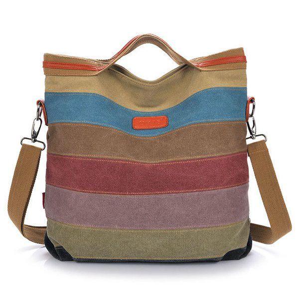 FGR US$53.19 Women Canvas Striped Crossbody Bags Vintage Contrast Color Canvas Tote Handbags