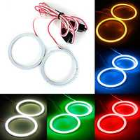 2 x 80mm 93LED CCFL Headlight COB Angel Eyes Halo Ring Lamp