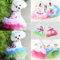 Puppy Dog Cat Pet Summer Dress Lace Apparel Skirt Dress Sleeveless Braces
