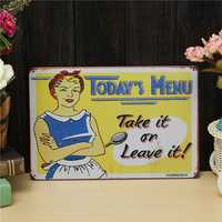Menu Sheet Metal Drawing Vintage Metal Painting Tin Caft Pub Tavern Wall Poster Sign