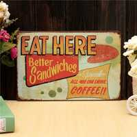 Eat Here Retro Metal Painting Sheet Metal Drawing Pub Club Cafe Poster Sign Tin Decor