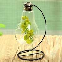 Bulb Shape Glass Vase Micro Landscape Eco Bottle With Holder