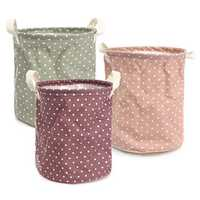 23*26cm Cotton Linen Storage Clothes Basket Laundry Hamper Daily Stuff Bag